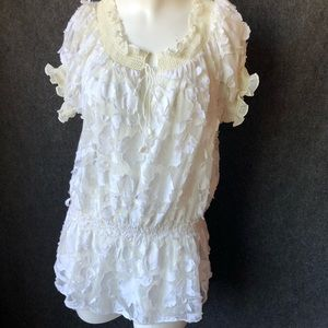 Boho white top with cool detail